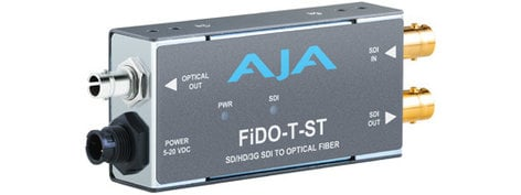 AJA FiDO-T-ST Single Channel SD/HD/3G-SDI to ST Optical Fiber Converter with Looping SDI Output and Power Supply FIDO-T-ST