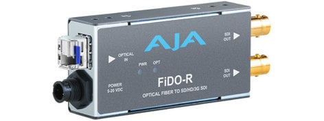 AJA Video Systems Inc FiDO-R 1 Channel LC Optical Fiber to SD/HD/3G-SDI Mini Converter with Dual SDI Outputs and Power Supply FIDO-R