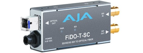 AJA Video Systems Inc FiDO-T-SC 1 Channel SDI to SC Fiber Mini Converter with Looping SDI Out and Power Supply FIDO-T-SC