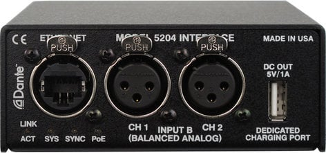 Studio Technologies Model 5204 Dual Line Input to Dante Network Audio Interface MODEL-5204