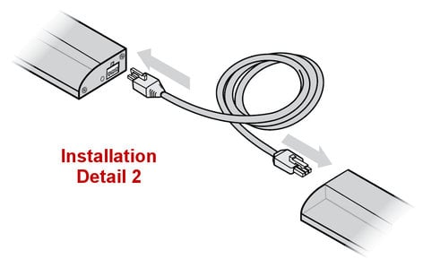 """Philips Color Kinetics 108-000035-02 18"""" 120V AC White Jumper Cable for eW Profile Powercore 108-000035-02"""
