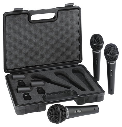 Behringer ULTRAVOICE XM1800S 3-Pack of Dynamic Handheld Vocal/Instrument Cardioid Microphones XM1800S