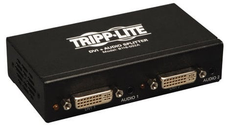 Tripp Lite B116-002A Single Link 2-Port DVI Splitter with Audio and Signal Booster - 1920 x1200 at 60Hz / 1080p (DVI F/2xF) B116-002A