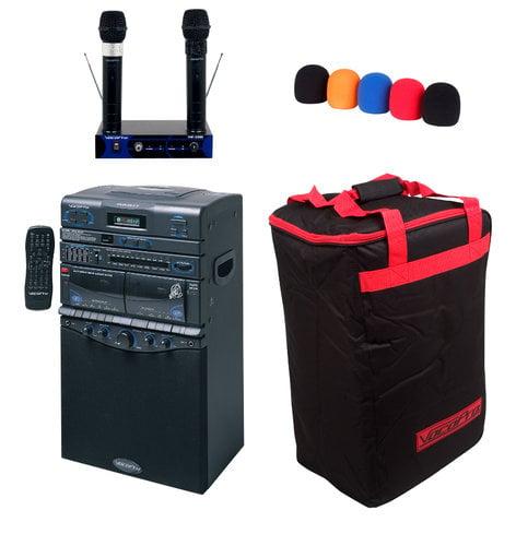 VocoPro DVD-DUET PRO II Multi-Format Portable Karaoke System with (2) Wireless Microphones DVD-DUET-PRO-II