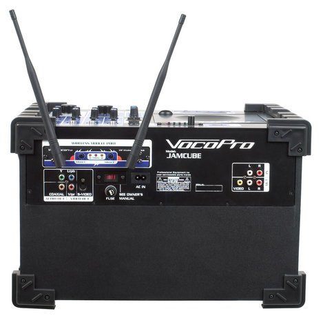 VocoPro JamCube 2 100 Watt All-In-One Compact PA System with CD/MP3 Playback, SD Recorder and (2) Wireless Microphones JAMCUBE-2