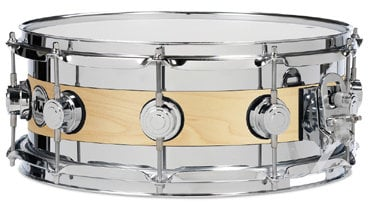 """DW DRSO0614SEC [DISPLAY MODEl] 6""""x14"""" Collector's Series Edge Snare Drum with Chrome Rings in Natural Maple Satin Oil Finish DRSO0614SEC-DIS-01"""