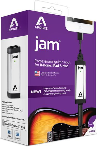 Apogee Jam 96k 1 Channel 96kHz A/D Guitar Interface for iPad & Mac with Lightning & USB Cables JAM-96K-LO
