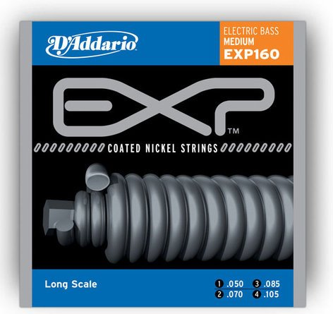 D`Addario EXP160  50-105 Medium Coated Nickel Wound Long Scale Bass Strings EXP160