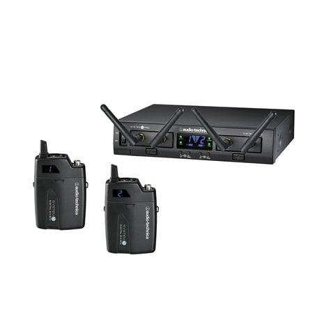 Audio-Technica ATW-1311 System 10 PRO Rackmount Dual-Channel Digital Wireless Bodypack System with (2) ATW-T1001 Bodypack Transmitters ATW-1311