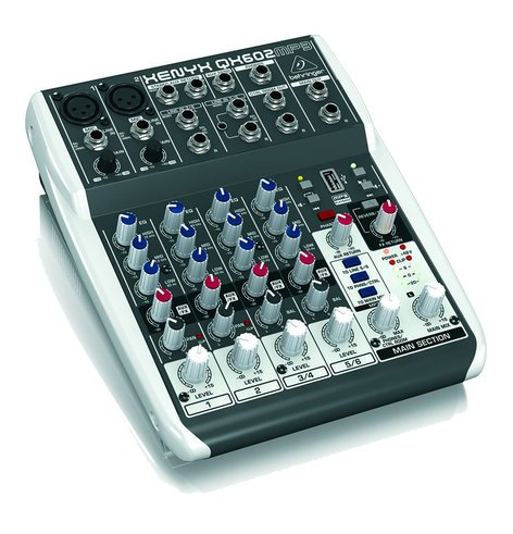 Behringer XENYX QX602MP3 6-Input 2-Bus Compact Mixer with Onboard MP3 Player and Effects QX602MP3
