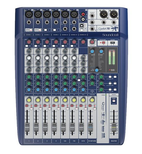Soundcraft Signature 10 10-Input Compact Analog Mixer with Onboard Effects and 2x2 USB Interface SIGNATURE-10