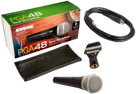 "Shure PGA48-QTR PG ALTA Cardioid Dynamic Vocal Microphone with 15 ft XLR-1/4"" Cable PGA48-QTR"