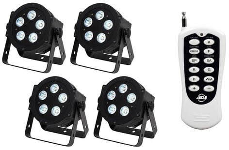 ADJ 5P Hex Par Pak 4x 5P Hex 6-in-1 LED Par Fixture with 1x RFC Remote Control HEXPAR-PAK