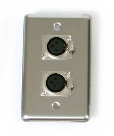 Elite Core Audio OSP D-2-XLR Single-Gang Stainless Steel Wall Plate with (2) XLR Female Connectors D-2-XLR