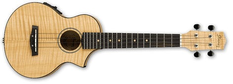 Ibanez UEW12E Open Pore Natural UEW Series Acoustic/Electric Cutaway Concert Ukulele with UK-300T Preamp UEW12E