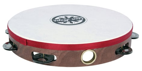 """Gon Bops PTAMWH1 10"""" Wood Tambourine with Single Row of Jingles and Head PTAMWH1"""