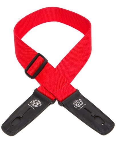 "Lock It Straps LIS 002 P2-RED 2"" Red Polypro Guitar Strap with Black Locking Ends LIS-002-P2-RED"