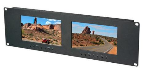 "Delvcam DELV-2LCD7-CVGAD Dual 7"" 3RU VGA & DVI & Composite Monitors DELV-2LCD7-CVGAD"