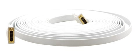 Kramer C-DM/DM/FLAT(W)-6 6' DVI Flat Cable Male to Male in White C-DM/DM/FLAT(W)-6