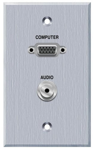 PanelCrafters PC-G1520-E-P-C  Single Gang VGA and 3.5MM TRS Panelcrafters Aluminum Faceplate PC-G1520-E-P-C