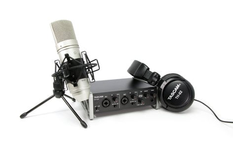 Tascam TRACKPACK 2X2 Audio Recording Bundle with US-2x2 Interface, TM-80 Condenser Microphone, and TH-02 Headphones US2X2TP
