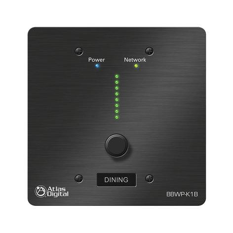 Atlas Sound BBWP-K1B  BlueBridge Series Wall Controller in Black with Single Value Change Adjustment BBWP-K1B