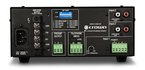 Crown 135MA 3-Channel 35W Mixer/Amplifier with 70/100V and 8 Ohm Outputs 135MA