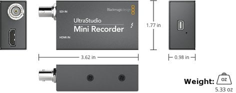Blackmagic Design UltraStudio Mini Recorder Pocket-Sized Thunderbolt-Powered SDI and HDMI Recording ULTRASTUDIO-MINI-REC