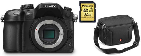 Panasonic LUMIX G Camera DMC-GH4K Bundle 16.05MP DSLR Camera Body with Manfrotto Shoulder Bag 10 and 32GB SDHC Card DMC-GH4K-PROMO