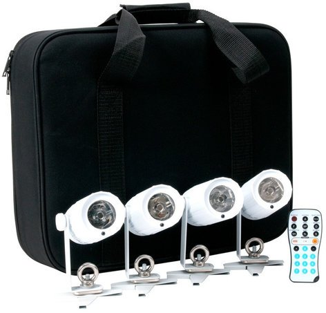 ADJ PinPoint GO Pak Kit with 4 PinPoint GO Battery-Powered LED Pinspots with Remote and Case PIN-POINT-GO-PAK