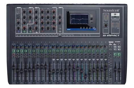 """Soundcraft SI-IMPACT Si Impact Digital Mixing Console with 32 Mic/Line Inputs, 5"""" Touchscreen, 32x32 USB Audio Interface, and 26 Motorized Faders SI-IMPACT"""