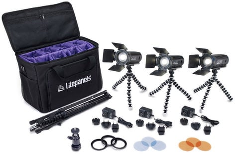 Litepanels Caliber 3-Light Kit Portable Daylight Video 3-Fixture Kit with Case and Accessories 909-1001