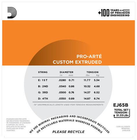 D`Addario EJ65B Pro-Arte Custom Extruded Baritone Ukulele Strings EJ65B