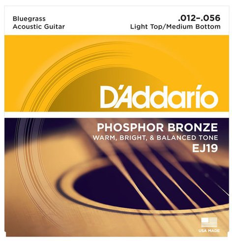 D`Addario EJ19 Phosphor Bronze Bluegrass Acoustic Guitar Strings, .012-.056 EJ19