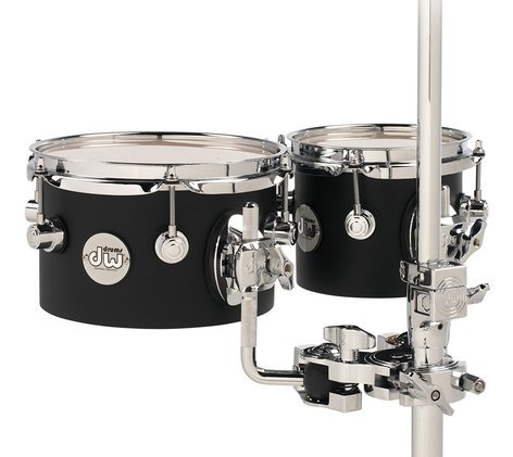 "DW Design Series 5""x6"", 5""x8"" Concert Toms in Black Satin with Chrome Hardware DDCT01BLCR"