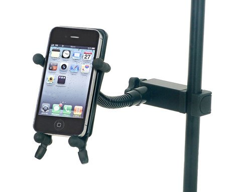 Hamilton Stands KB125E System X Series Smartphone Holder with Tube Clamp in Black KB125E-BK