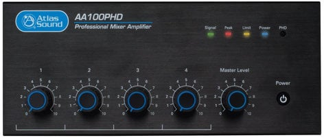 Atlas Sound AA100PHD 4-Input, 100W Mixer Amplifier with Automatic System Test (PHD) AA100PHD