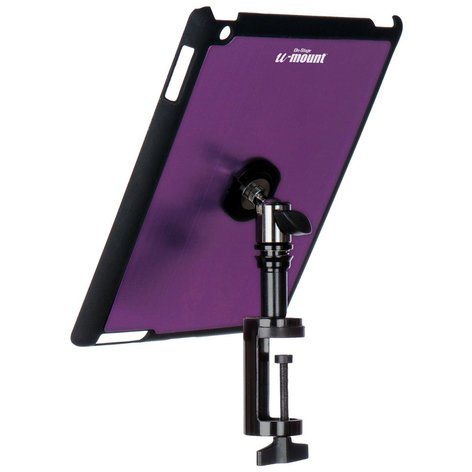 On-Stage Stands TCM9163P Snap-On iPad Cover/Mount for Table Edges with u-mount in Purple TCM9163P