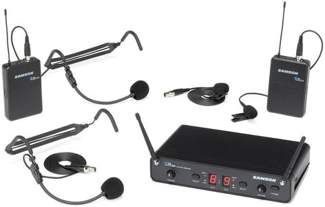 Samson SWC288PRES Concert 288 Presentation Wireless Microphone System with 2x Lavalier, 2x Headset Transmitters SWC288PRES