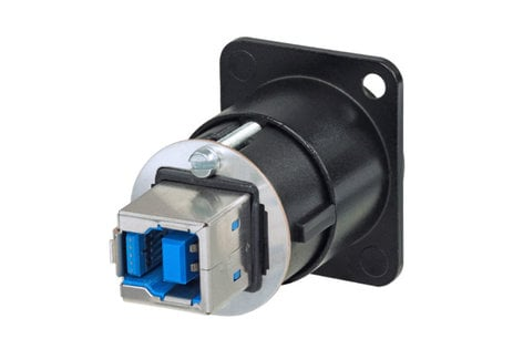 Neutrik NAUSB3-B  Reversible Feed Through USB 3.0 Adapter, Black NAUSB3-B