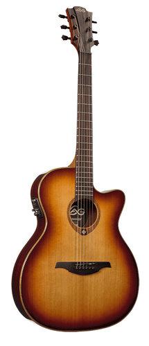 Lag Guitars T100ASCE-BRS Tramontane 100 Auditorium Slim Cutaway Acoustic/Electric Guitar with StudioLag Plus Electronics in Brown Shadow T100ASCEBRS
