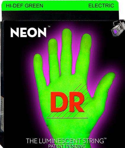 DR Strings NGE-10 Medium NEON HiDef SuperStrings Electric Guitar Strings in Green NGE-10