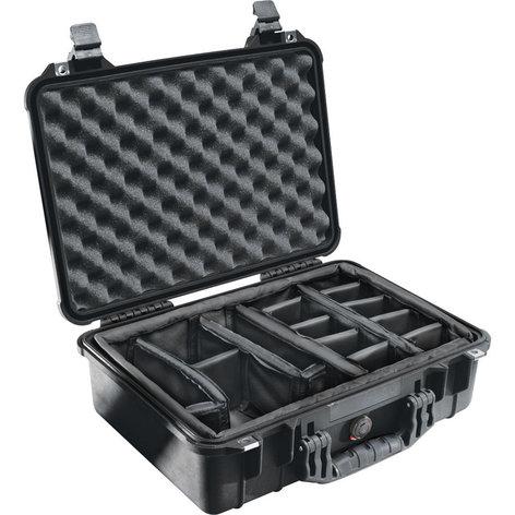 Pelican Cases PC1504-BLACK Medium Black Case with Padded Dividers PC1504-BLACK