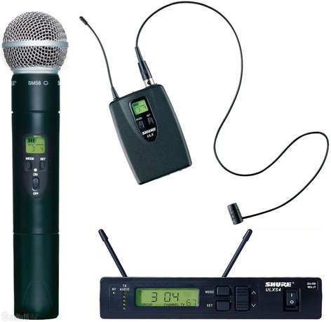 Shure ULXS124/85-J1 ULX-S Series Combo Wireless System with ULX1 Bodypack Transmitter, WL185 Lavalier Microphone, and ULX2/58 Cardioid Handheld Transmitter, 554-590 MHz ULXS124/85-J1
