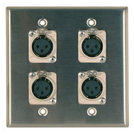 RapcoHorizon Music DP-4DFS  Two-Gang Stainless Steel Wall Plate with 4 XLR-F Ports DP-4DFS