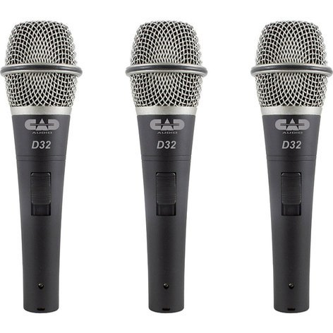 CAD Audio D32X3 3-Pack of CADLive D32 Dynamic Handheld Microphones D32X3