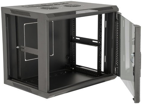 Gator Cases GRW1012509  12U Fixed Wall Mounted Metal Rack w/ Glass Door, Black GRW1012509