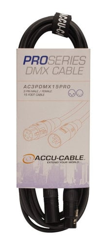 Accu-Cable AC3PDMX15PRO  15 ft Pro Series 3-Pin DMX Cable AC3PDMX15PRO