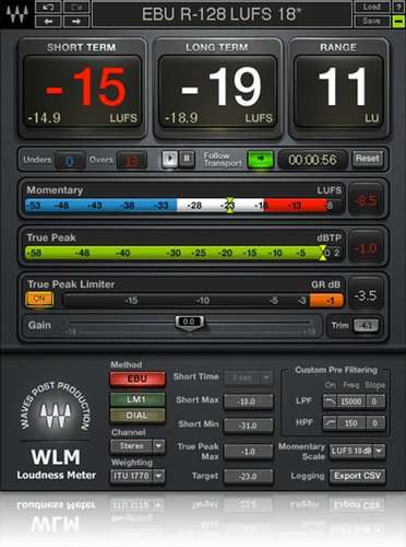 Waves WLM Plus Loudness Meter Loudness Meter Plugin WLMPLUSSG