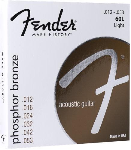 Fender 60L Phosphor Bronze Acoustic Guitar Strings, .012 - .053 60L